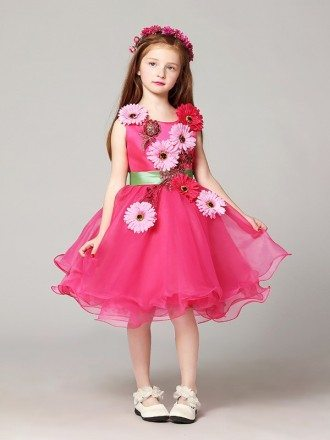 A Line Short Fuchsia Organza Pageant Dress with Hand-made Flowers