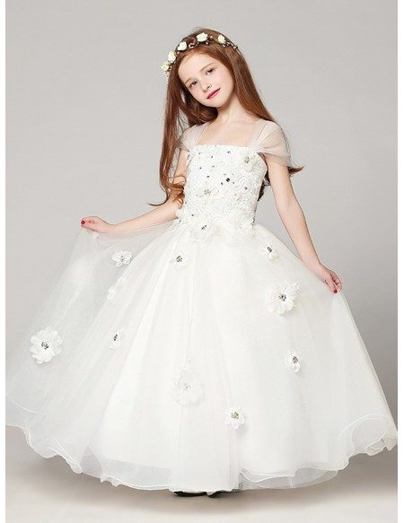 Long Ball Gown White Lace Beading Flower Girl Dress With Cap Sleeves Efv13 Gemgracecom