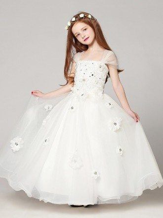 Long Ball Gown White Lace Beading Flower Girl Dress with Cap Sleeves