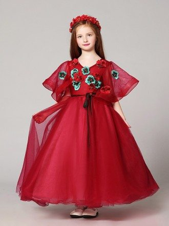 Puffy Sleeves Ball Gown Red Tulle Pageant Dress with Handmade Flowers