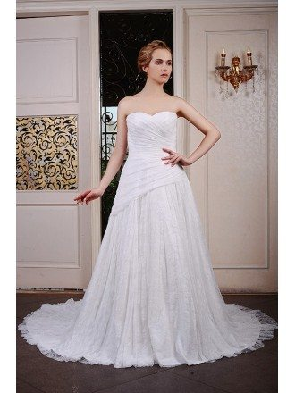 Ball-Gown Sweetheart Chaple Train Lace Wedding Dress With Pleated