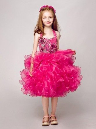 Fuchsia Short Ruffled Organza Halter Pageant Dress with Crystals