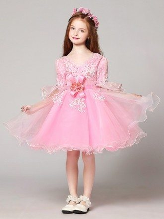 Sweetheart Short Pink Ball Gown Lace Beaded Flower Girl Dress with Sleeves