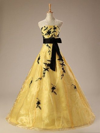Black and Yellow Strapless Embroidered Wedding Dress with Sash