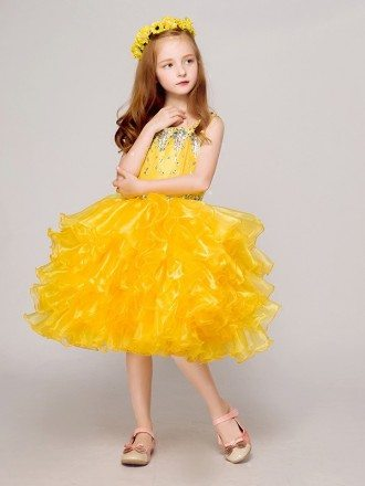 Shining Yellow Ruffled Short Ballroom Flower Girl Dress with Crystals