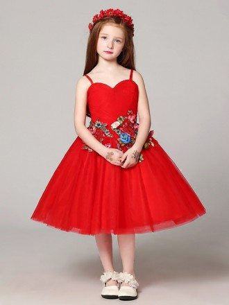 Red Short Ballroom Flower Girl Dress with Colorful Embroidery Floral