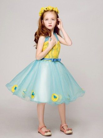 A Line Halter Short Blue Pageant Dress with Yellow Appliques