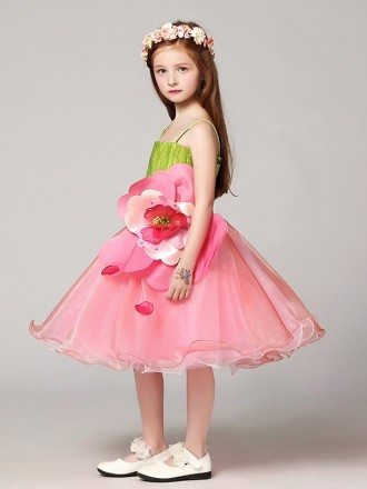 Yellow green and Pink Short Ballroom Flower Pageant Dress with Spaghetti Straps