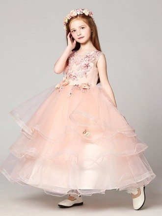Ball Gown Long Ruffled Lace Pink Flower Girl Dress with Beading