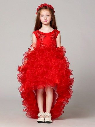 Cascading High Low Red Lace Flower Girl Dress with Beading