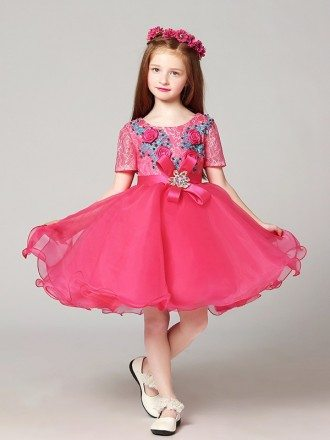 Short Sleeves Lace Pink Pageant Dress with Blue Flowers