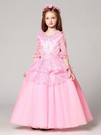 Long Sleeves Lace Pink Ball Gown Flower Girl Dress with Jacket