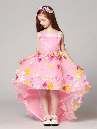High Low Beaded Pink Pageant Dress with Colorful Flowers
