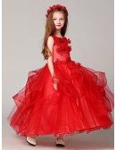 Long Ruffled Ball Gown Red Lace Flower Girl Dress with Beading