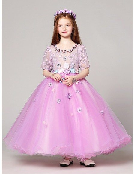Fairy Long Ball Gown Lilac Lace Beading Flower Girl Dress with Sleeves