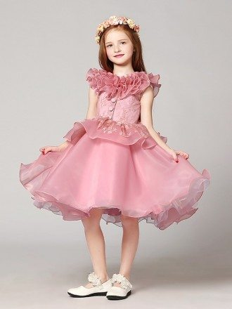 Short Ball Gown Lace Pink Flower Girl Dress with Ruffles Neckline