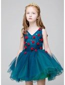 Little Girl's Sweetheart Blue Short Party Dress with Hand-made Flowers