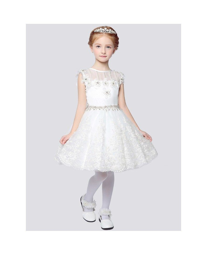 Ball Gown Short Lace Flower Girl Dress With Rhinestone Waist Eff13 Gemgracecom