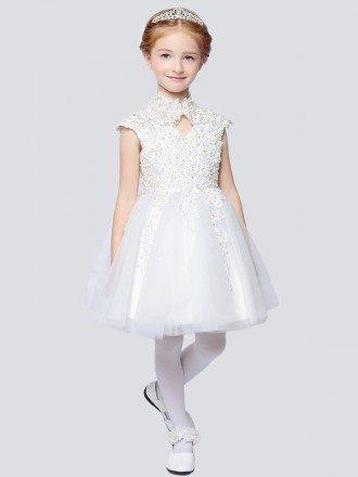Vintage Cap Sleeve Short Lace Ballroom Flower Girl Dress with Collar