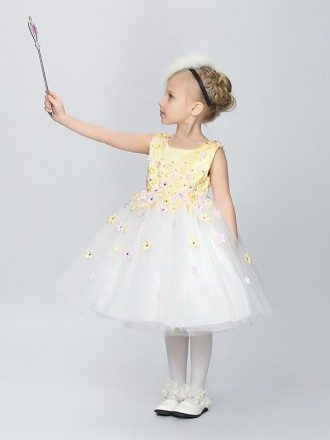 Little Girl's White and Green Satin Tulle Party Dress with Floral