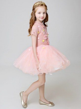 Little Girl's Vintage Pink Tutu Party Dress with Short Sleeves