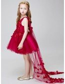 Hot Red Short Flowers Beaded Fairy Pageant Dress for Little Girls