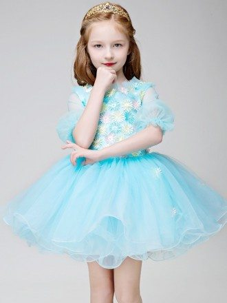 Fairy Blue Short Sleeved Floral Tulle Pageant Dress for Little Girls