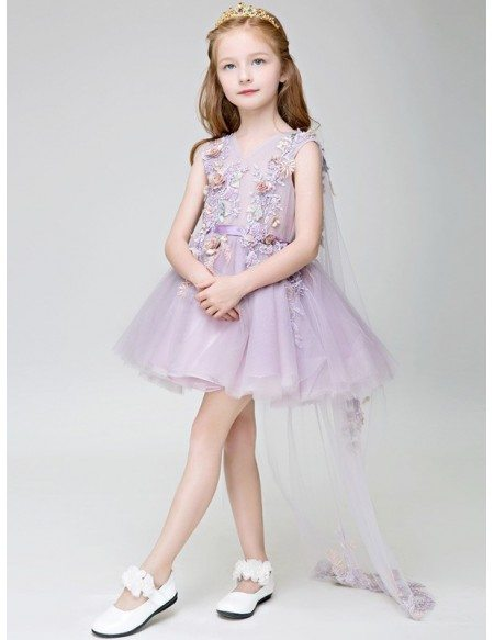 Short Lavender Lace Floral Fairy Pageant Dress with Train