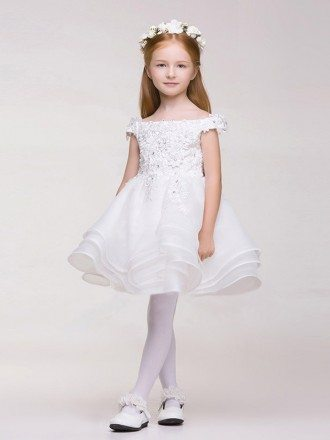 Cap Sleeves White Lace Beaded Tutu Flower Girl Dress