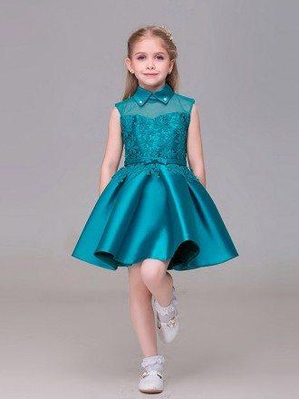 Taffeta Lace Short Flower Girl Dress with Collar