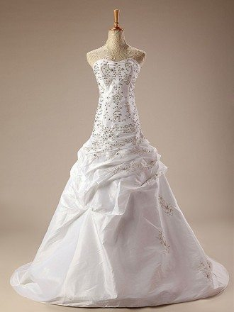Sequined Embroidered Ballgown Taffeta Wedding Dress with Train