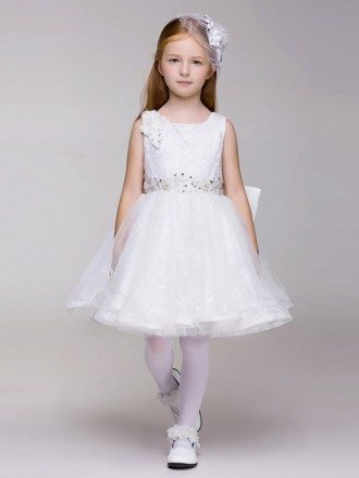 Beautiful Rhinestones Short Tutu Pageant Dress in Lace Tulle