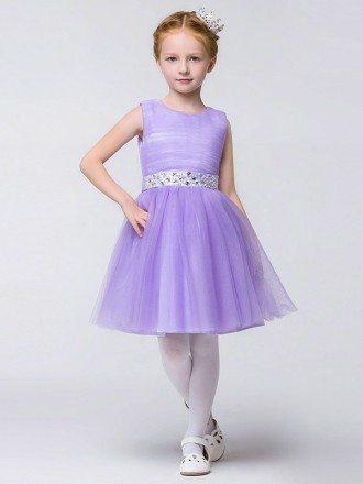 Lavender Crystals Tulle Ballroom Flower Girl Dress in Knee Length
