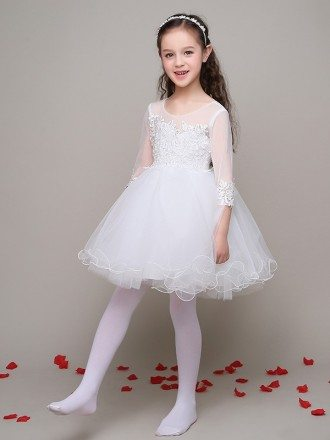 Short Ball Gown Tulle Lace Flower Girl Dress with 3/4 Sleeves