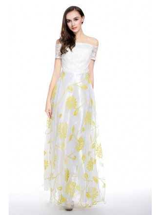 White and Yellow A-line Off-the-shoulder Floor-length Prom Dress With Lace