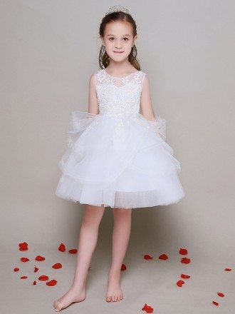 Tulle Lace Short Bubble Gown Pageant Dress in Sleeveless