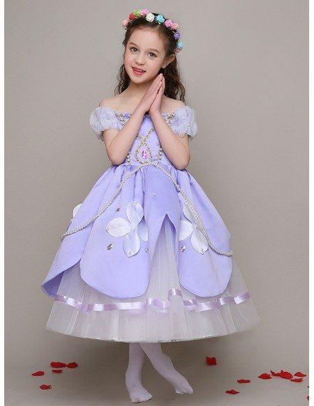 Little Girl's Taffeta Blue Beaded Pageant Dress with Lantern Sleeves