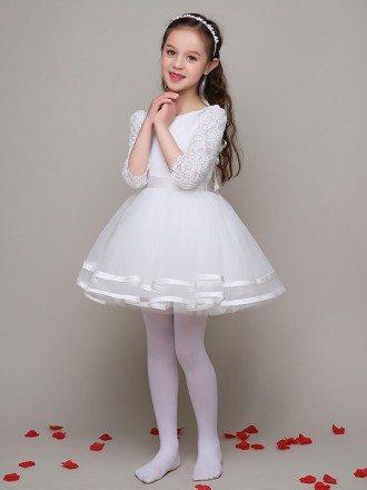 3/4 Lace Sleeves Ballroom Tulle Satin Flower Girl Dress