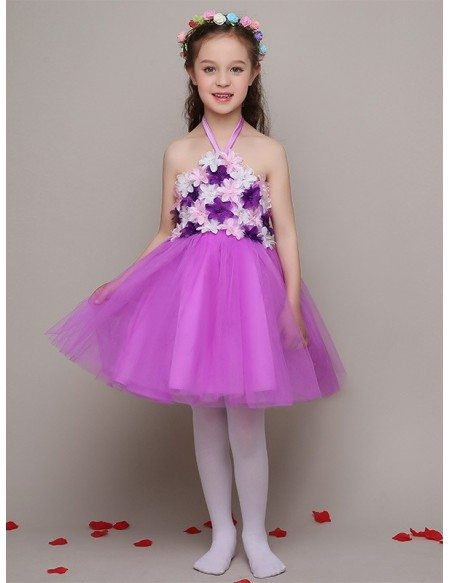 Purple Tulle Flowers Pageant Dress with Halter Strap