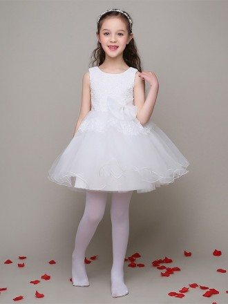 A Line Short Tulle Gown Flower Girl Dress with Lace Bodice