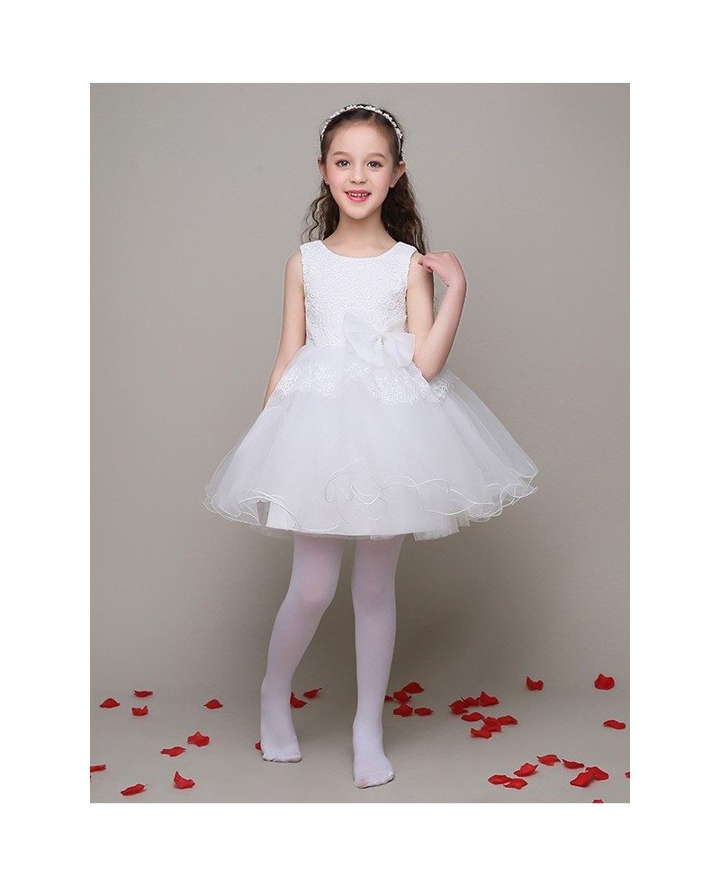 A Line Short Tulle Gown Flower Girl Dress With Lace Bodice Efl14 Gemgracecom
