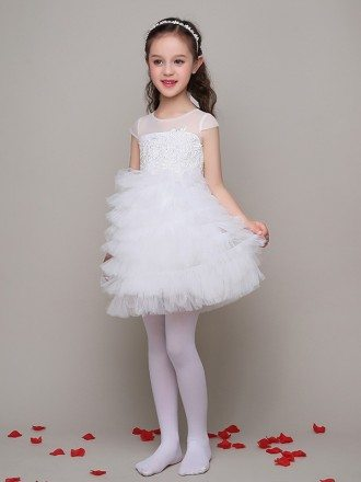 Ball Gown Tulle Layered Short Lace Flower Girl Dress with Cap Sleeves