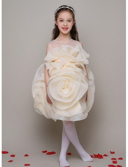 Unique Floral Champagne Short Pageant Dress with Sheer Neck