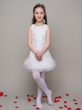 Little Girl's Slim Lace Pageant Dress with Ruffle Tulle Hem