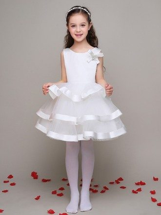 Simple Satin Tulle Layers Flower Girl Dress with Bows