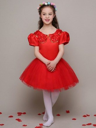 Hot Red Satin Sequin Collar Flower Girl Dress with Short Puffy Sleeves