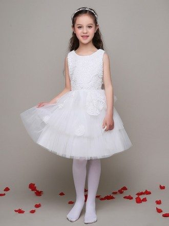 Short Tulle Layers Lace Flower Girl Dress with Big Bow In the Back