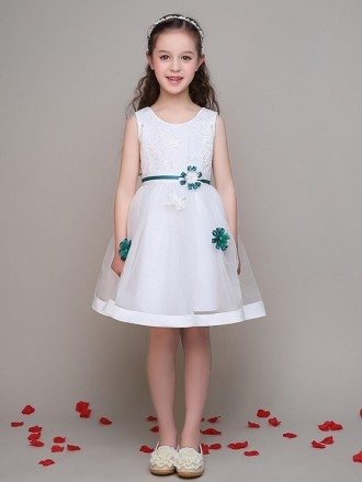 Lace Short White Little Girl's Dress with Blue Flowers