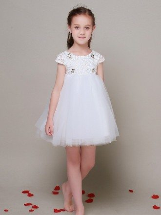Short Tulle Empire Waist Lace Flower Girl Dress with Cap Sleeves