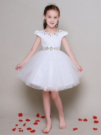 Cap Sleeve Crystal Embroidery Short Tulle Flower Girl Dress